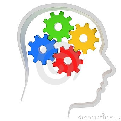 Gears instead of brain in the human head