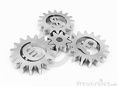 Gears with dollar pound and euro signs
