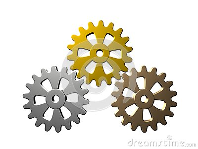 Gears (Gold, Silver, Bronze) - Isolated