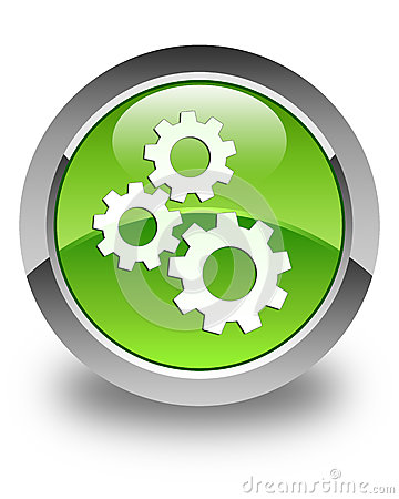 Gears icon glossy green round button Cartoon Illustration