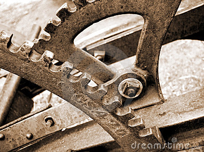 Gears and levers on old plow