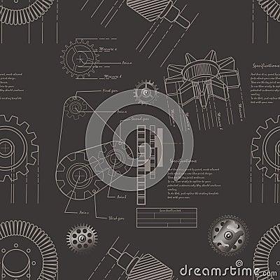 Gears seamless pattern