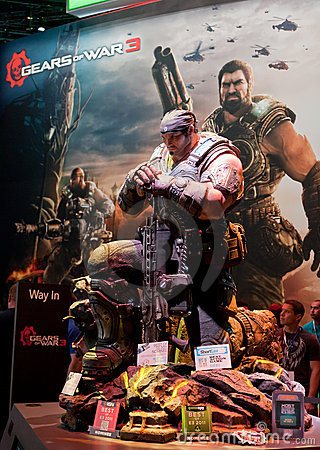 Gears of War 3 Marcus Phoenix giant statue Editorial Photography