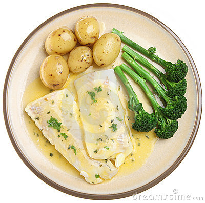 Gebackene Schellfisch-Fischfilets u. Gemüse