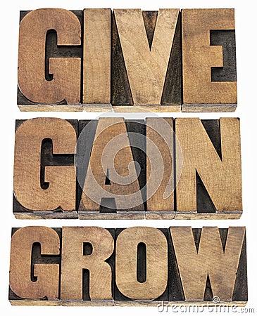 Geben Sie, gewinnen Sie und wachsen Sie