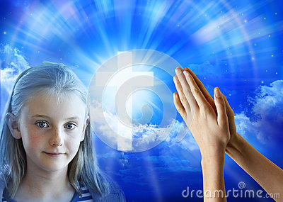 Gebets-Mädchen-Kinderhände