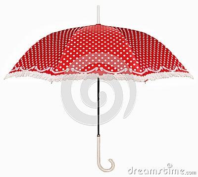 Gebogen handvat rode paraplu