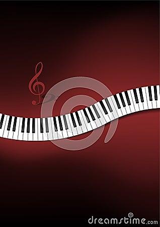 Gebogener Klavier-Tastatur-Hintergrund
