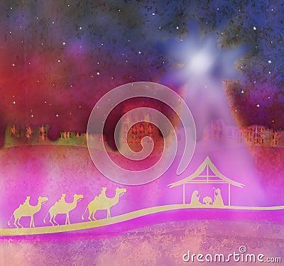 Geboorte van Jesus in Bethlehem.