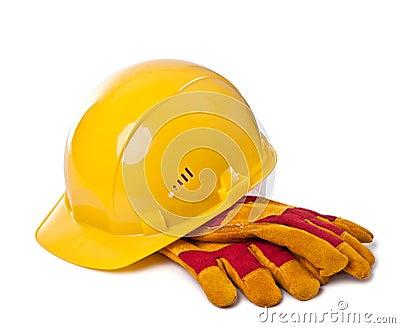 Gebäudesturzhelm und Schutzhandschuhe