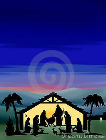 Geburt Christi-Schattenbild-Farbe
