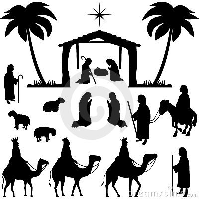 Geburt Christi silhouettiert Ansammlung