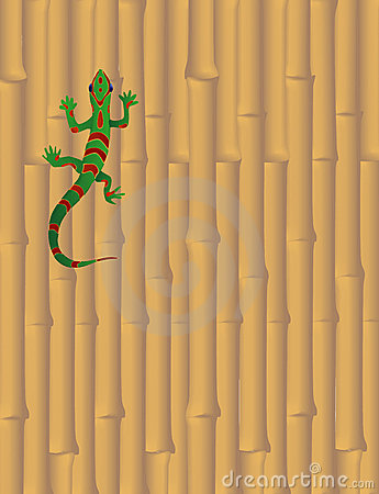 Gecko on Bamboo Wall