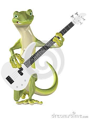 Gecko on Bass Guitar