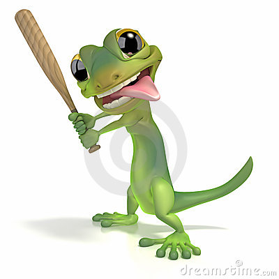 Gecko holding baseball bat
