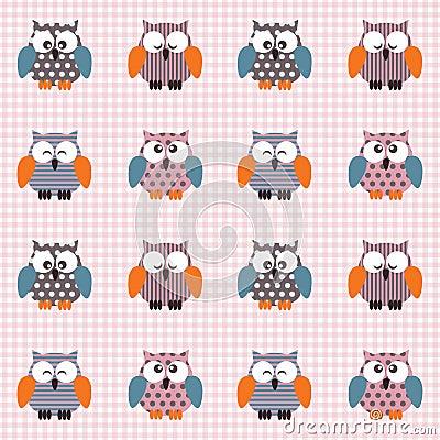 Gecontroleerd patroon met leuke uilen