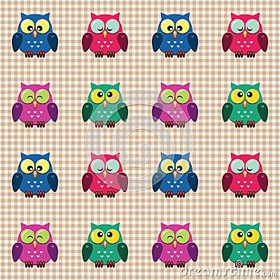 Gecontroleerd patroon met leuke uilen.