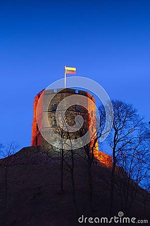 Gediminas Castle in Vilnius Lithuania night scene