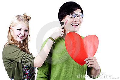 Geek Asian - Caucasian Couple isolated on white