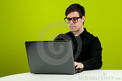 Geek working on computer