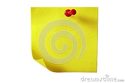 Geel kleverig document. Geïsoleerdr met het knippen