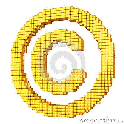 Geel pixelated auteursrechtsymbool