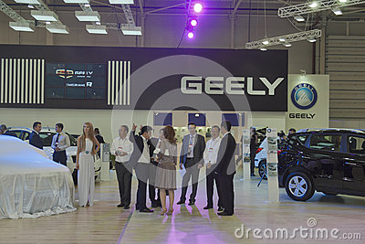 Geely automotive company booth Editorial Stock Photo