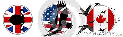 Bird Silhouette on Flag
