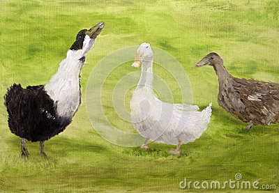 Geese oil painting
