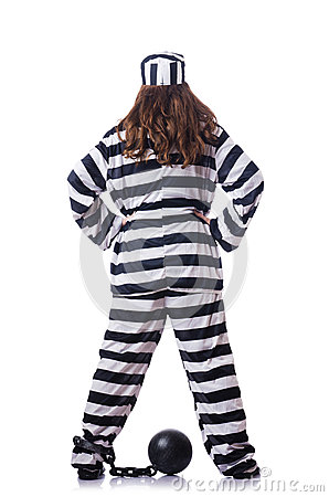 Gefangener in gestreifter Uniform