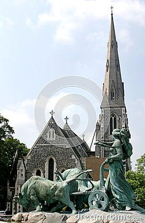 Free Gefionspringvandet  And Danish Church (Copenhagen) Stock Image - 6183531