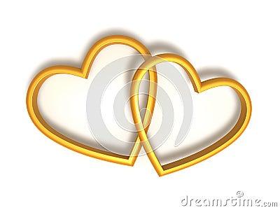 Inneres geformte Ringe der goldenen Hochzeit, 3d übertragen über ...