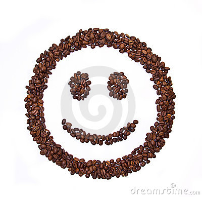 Geformte Kaffeebohnen des Lächelns