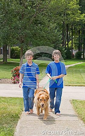 Gehende Kinder der Hund