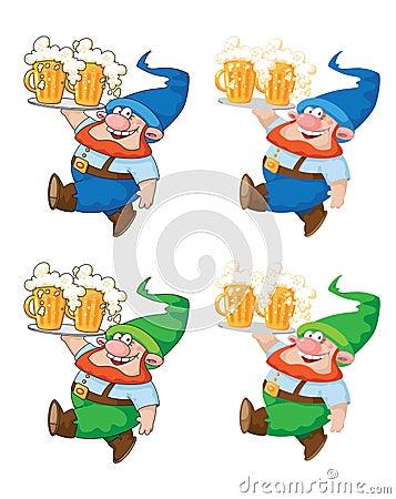 Gehender Gnome mit Bier