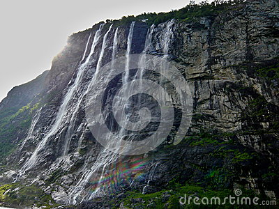 Geiranger fjord-waterfall Seven sisters