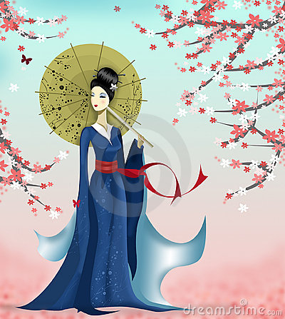 Free Geisha And Butterfly Stock Photo - 5388100