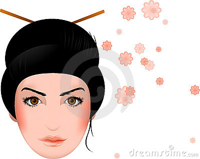 Geisha, asian girl face with blossoms