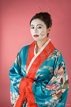 Geisha Asian woman facepaint in yukata kimono