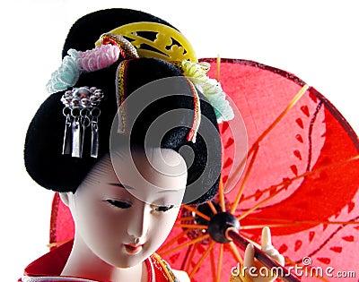Geisha con el paraguas