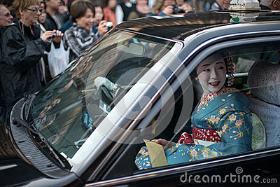 Geisha delivery in Gion Editorial Photo