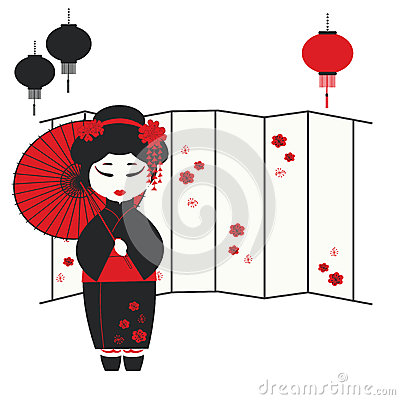 Geisha girl with umbrella