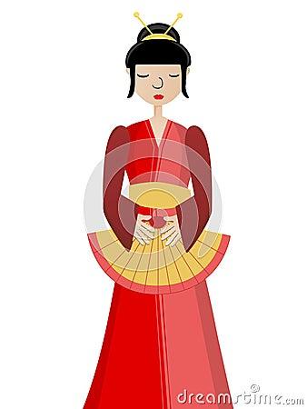 Geisha holding fan
