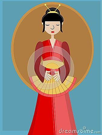 Geisha holding fan against background