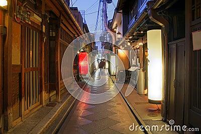 Geisha houses on Pontocho Alley, Kyoto, Japan