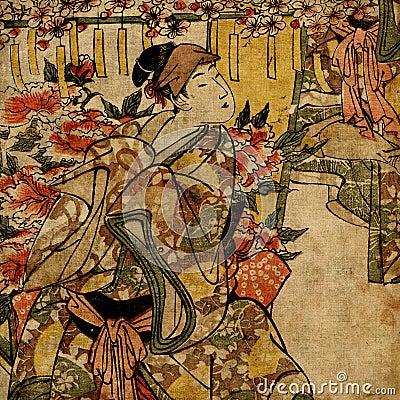 Geisha Japanese woman in traditional dress