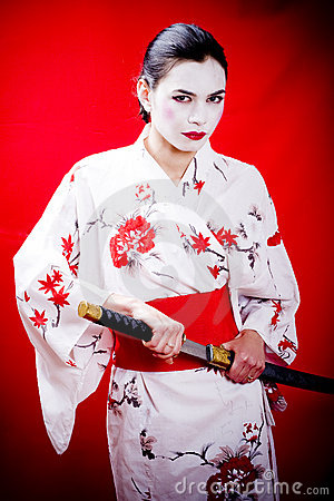 Geisha and katana sword