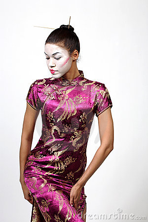 Stock Image: Geisha lady in cheongsam