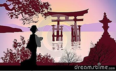 Geisha and Mount Fuji with trees