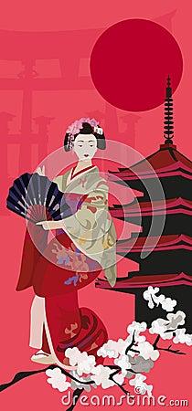 Geisha and Pagoda